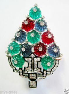 Stunning Art Deco Design Jeweled Shoebuttons Christmas Tree Pin Signed Enamled | eBay