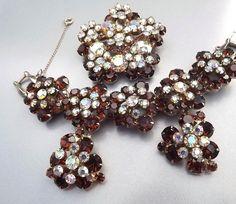 Juliana Rhinestone Bracelet Earrings Brooch Authentic Bookpiece Vintage 1960s Jewelry. $349.00, via Etsy.