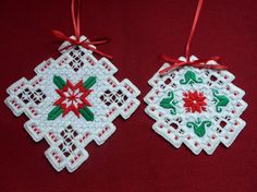 Hardanger Ornaments - stitchin fingers
