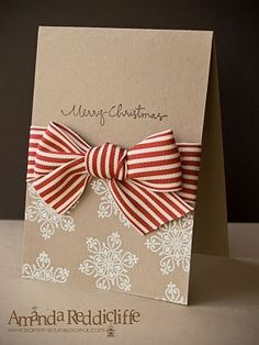 Simple homemade christmas card w ribbon Homemade Christmas Cards, Homemade Cards, Christmas Crafts, Merry Christmas, Christmas Recipes, Christmas Abbott, Christmas Vacation, Christmas Games, Christmas Greetings