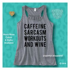 Caffeine Sarcasm Workouts and Wine Flowy Racerback Tank Top Yoga (€24) ❤ liked on Polyvore featuring activewear, activewear tops, black, tanks, tops, women's clothing and yoga activewear