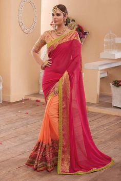 Pink Georgette Wedding Saree