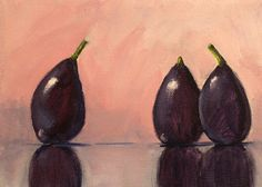 Still Life Fruit Oil Painting, Tropical Figs, Kitchen Wall Decor Art, Pink, Purple, Black, Small 6x8 Canvas Original, Minimalist Design by smallimpressions on Etsy https://www.etsy.com/listing/226234969/still-life-fruit-oil-painting-tropical