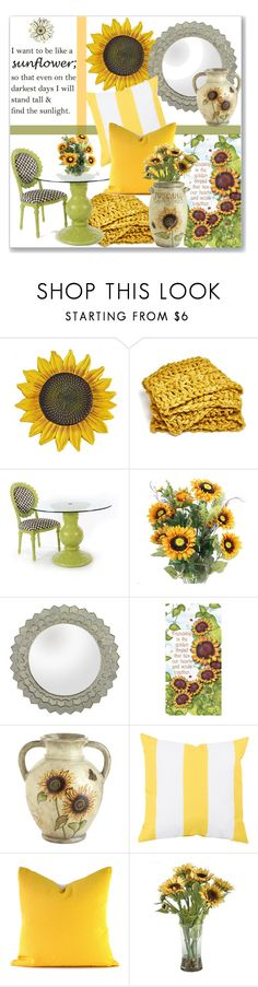 """Sunflower for the Home"" by kimzarad1 ❤ liked on Polyvore featuring interior, interiors, interior design, home, home decor, interior decorating, Lazy Susan, Pier 1 Imports and Surya"