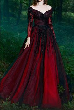 fantasy dress Fouad Sarkis Couture Dark Red Long Sleeve Off Shoulder Evening Gown Red Ball Gowns, Red Gowns, Ball Dresses, Purple Gowns, Prom Dresses, Elegant Dresses, Pretty Dresses, Formal Dresses, Beautiful Gowns
