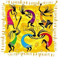 Figures de danse sur fond orange Banque d'images - 9745271