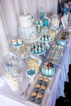 A Combined Christening and Birthday by A Party Candy Buffet and Party Sup. - A Combined Christening and Birthday by A Party Candy Buffet and Party Supplies Babyparty & - Baby Shower Cakes, Gateau Baby Shower, Baby Boy Shower, Baby Shower Candy Table, Baby Shower Buffet, Baby Shower Desert Table, Baby Shower Treats, Baby Shower Desserts, Dessert Bars