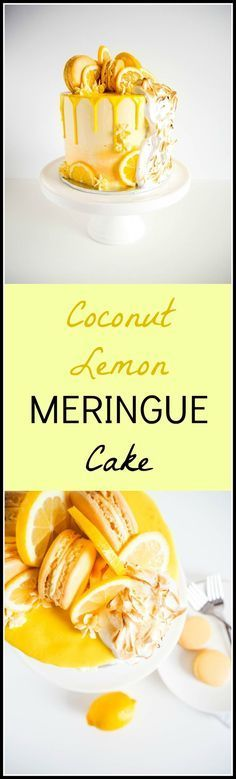 Coconut Lemon Meringue Cake - Moist and light coconut cake with tangy lemon…