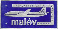 Malev Airlines Hungary, Airplanes, Vintage Posters, Aviation, Aircraft, Commercial, Sign, Retro, Poster Vintage