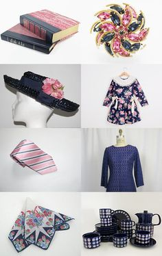 Rich Blue and Lovely Pink for Spring by Ellie Finlay on Etsy--Pinned with TreasuryPin.com