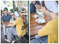 Anniversary Photos, Coffee Shop, Coffee, Urban love, Outside dinning, mustard and gray, Washington Dc, Eastern Market