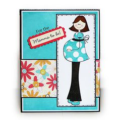 Baby shower card I made using Design by Dani's Here We Grow kit
