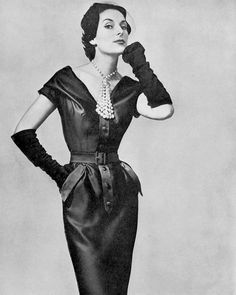 Susanne Erichsen in satin cocktail dress by Maggy Rouff, photo by Georges Saad, 1954
