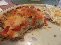 Ginny's Low Carb Kitchen: MEATLOAF PIE - RED PEPPER AND CAULI-RICE.  This looks very easy. Visit us at: https://www.facebook.com/LowCarbingAmongFriends