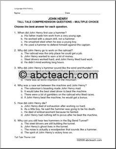Comprehension: Tall Tale - John Henry Student Teacher, New Teachers, Tall Tales, Word Puzzles, Comprehension Questions, Multiple Choice, Legends, Homeschool, Folk