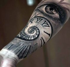 Forearm Sleeve Spiral Roman Numeral Staircase With Eye Mens Tattoos