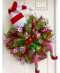 XL Deco Mesh Holiday Elf Wreath In Lime Green U0026 Red With Hat That Lights  Up, Christmas Wreath, Whimsical, Elf Decor, Front Door Wreath By ...