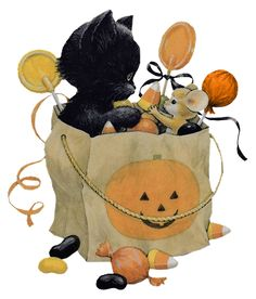 ruth  morehead halloween kitten and mouse in trick or treat bag