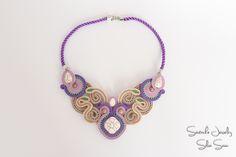 Purple and Beige Souatche Necklace