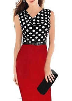 Cowl Neck Sleeveless Sheath Dress/ Black top with white polka dot top and red pencil skirt