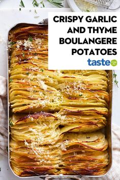 For the ultimate side to your main, serve up these French-inspired crispy garlic and thyme boulangere potatoes. 9 INGREDIENTS 2.4kg large oval sebago potatoes, peeled 1 tbsp fresh thyme leaves, plus extra small sprigs to serve 3 garlic cloves, peeled, halved 1/3 cup extra virgin olive oil 1 tsp cracked black pepper 2 tsp chicken-style stock powder 1/3 cup hot water 1 tsp sea salt 1/4 cup finely grated parmesan Potato Recipes, Vegetable Recipes, Vegetarian Recipes, Cooking Recipes, Healthy Recipes, Potato Side Dishes, Vegetable Side Dishes, Boulangere Potatoes, Food Inspiration