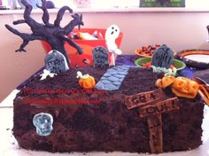 Halloween cake.  All decorations were hand made fondant, no molds