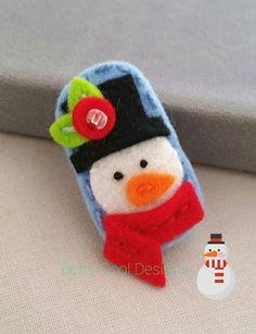 snowman-wool-felt-baby-snap- hair - clip