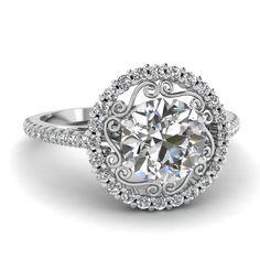 Round Cut Diamond Engagement Rings With White Diamond In 950 Platinum | Pristine Halo Ring | Fascinating Diamonds