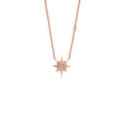 Starburst Gretta Pendant || 18k GOLD WHITE DIAMOND GRETTA STARBURST NECKLACE ON 16″ CHAIN WITH 1 DIAMOND BY THE YARD || GOLD: 3.9 g TDW: 0.21 ct || #SaraWeinstockJewelry #SWGem