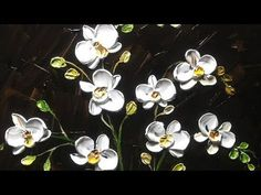 "How to paint modern Orchid Flowers with a Palette Knife ""Impasto Technique in Acryl"" ""Very Easy"" Acrylic Painting Flowers, Acrylic Painting Tutorials, Paint Flowers, Wood Painting Techniques, Flower Drawing Tutorials, Drawing Flowers, White Orchids, Orchid Flowers, White Flowers"