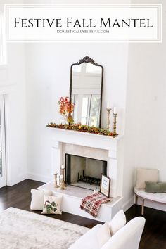 #ad A Festive Fall Mantel to inspire your home decorating this season. #wayfairathome | Fall decor from Wayfair. | Fall living room decor. | Orange fall decor on a fireplace mantel. | Red fall decor in a living room. |