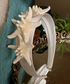 White Knobby Starfish on Satin Headband for Beach Weddings and Flower Girls