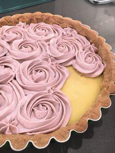 Earl Grey-Lavender Buttercream Lemon Curd Shortbread Tart
