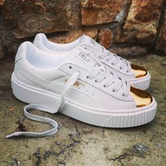Shoes Sneakers Gold Suede Pinterest Platform Puma Toe wSqBY