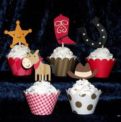 40 Cowboy  Cupcake Toppers Western picks and by APaperPlayground
