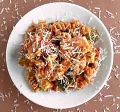 Zucchini pasta bake with roasted red pepper sauce