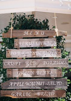 Love this rustic barn wood wedding menu display sign.  #wedding #signs