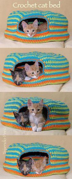 Crochet cat bed or nest!. Paso a paso : cama para gatos tejida a crochet…