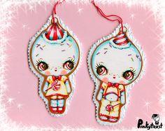 Christmas Ornaments-Big Eye Snow Babies-Kawaii Gingerbread Girl and Boy-Pinkytoast Ornament Set of 2