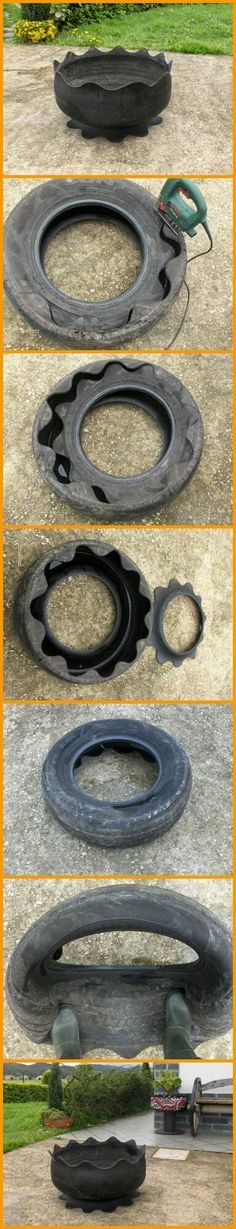 Did you know that you can make great planters out of old tires? All you need to do is cut out your old tires and turn them inside out. Tire Planters, Garden Planters, Terrace Garden, Tire Garden, Wooden Garden, Garden Crafts, Garden Projects, Garden Ideas, Tire Craft