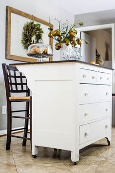 Make It Your Style: Kitchen Island Alternatives Using Repurposed Pieces — Apartment Therapy Kitchen Island With Seating, Diy Kitchen Island, Kitchen Redo, New Kitchen, Kitchen Storage, Kitchen Remodel, Antique Kitchen Island, Kitchen Trolley, Long Kitchen