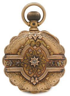 Clock Hourglass Time:  Elgin Ladies 14K Gold Cased Pocket #Watch, American, 1891.