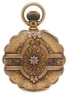 Elgin Ladies Pocket Watch.... American, ca 1891, a multi colored 14K gold hunting cased watch with diamond inset to case, blue/white and gold dial, marked Elgin,