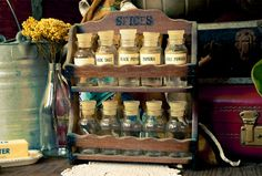 Vintage Standing Spice Rack by TheUrbanBarn on Etsy, $26.00 original Vintage kitchen décor mid century etsy shops antique colorful unique one of a kind 50s 60s 70s cute gift for her for him rusty rustic primitive barn farm country home farmhouse weddings wedding decoration