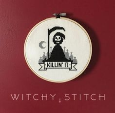 KILLIN IT Grim Reaper Cross Stitch Pattern Dark humor is the best humor. Finished stitch area on 14 aida is inches wide by inches high. For another version of this sweet little reaper go here: Cross Stitching, Cross Stitch Embroidery, Embroidery Patterns, Cross Stitch Patterns, Snitches Get Stitches, Diy Broderie, Gothic Crosses, Halloween Cross Stitches, Modern Cross Stitch