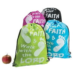 Exercise Your Faith Drawstring Backpacks - OrientalTrading.com