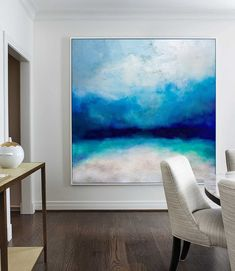 Large Ocean Canvas Oil Painting, Original Turquoise Sea And Blue Sky Landscape Painting, Sky Landscape Oil Painting, Large Wall Sea Painting Blue Abstract Painting, Abstract Canvas, Oil Painting On Canvas, Turquoise Painting, Painting Art, Galaxy Painting, Painting People, Spray Painting, Canvas Art