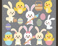 Pascua Clip Art / Clipart Pascua huevo caza imágenes prediseñadas huevo de Pascua ClipArt / Clipart conejito / conejito Pascua imágenes prediseñadas / imágenes prediseñadas del pollo