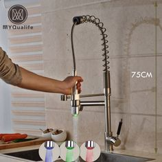 Luxury led 3 Light Kitchen Faucet Deck Mounted Heighten 75cm Hot and Cold Spring Kitchen Mixer Taps #Affiliate
