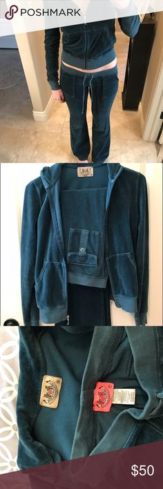 Authentic Juicy Couture Sweat Suit This gorgeous teal blue Juicy sweat suit is in awesome condition! It was purchased 8 years ago and has only been worn once! The jacket and pants match perfectly! The pants make you have an apple bottom and the jacket is a bit of a crop! Cute run around outfit for errands or perfect for hanging around the house! Comes from a smoke free home! Juicy Couture Pants Track Pants & Joggers